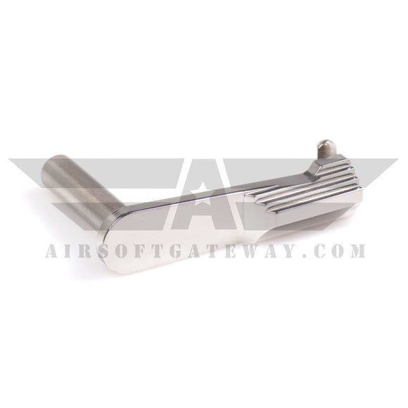 Airsoft Masterpiece STEEL Slide Stop - Type 2 SV Convex Bottom Silver - airsoftgateway.com