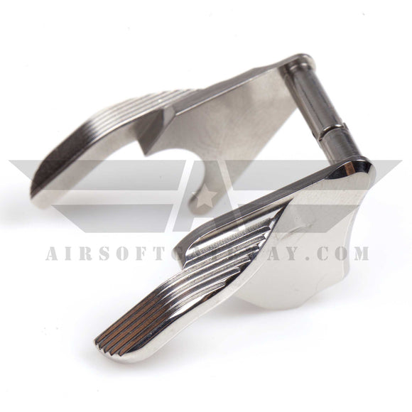 Airsoft Masterpiece STEEL Thumb Safeties - Type 1 STI Style Silver - airsoftgateway.com