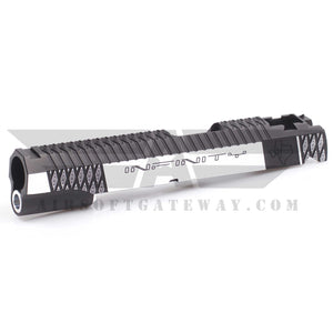 Airsoft Masterpiece Infinity Cross ver.5 Standard Slide for Tokyo Marui Hi-Capa 5.1 - Silver/Black - airsoftgateway.com