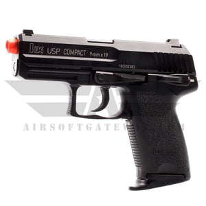 KWA H&K Full Metal USP Compact NS2 Gas Blowback Airsoft Pistol - Black - airsoftgateway.com