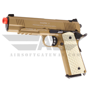 KWA 1911 MKII PTP Gas Blowback Pistol with Lower Rails - Tan - airsoftgateway.com