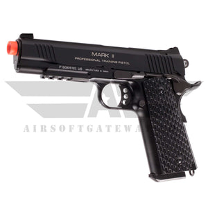 KWA 1911 MKII PTP Gas Blowback Pistol with Lower Rails - Black - airsoftgateway.com