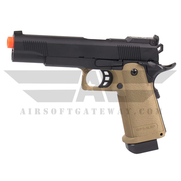 Jag Arms GM5 Hi-Capa 5.1 Gas Blowback Pistol 2-Tone Black/Tan - airsoftgateway.com