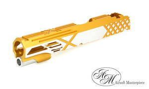 "Airsoft Masterpiece Custom ""X"" Standard Slide for Hi-CAPA/1911 2Tone GOLD/SILVER - airsoftgateway.com"