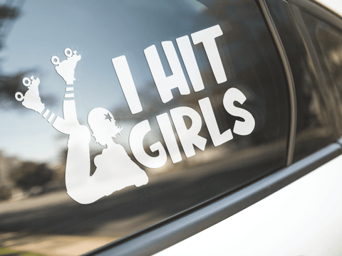 Roller Derby I Hit Girls Sticker