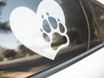Dog Paw Print Heart Sticker
