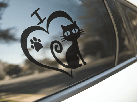 Cat Heart Paw Print Sticker