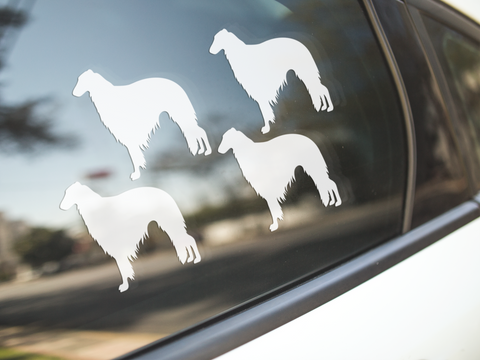 Borzoi Dog Silhouette Stickers
