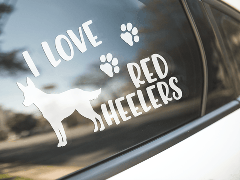 I Love Red Heelers Sticker
