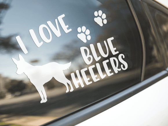 I Love Blue Heelers Sticker