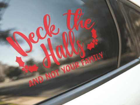 Funny Deck The Halls Christmas Sticker