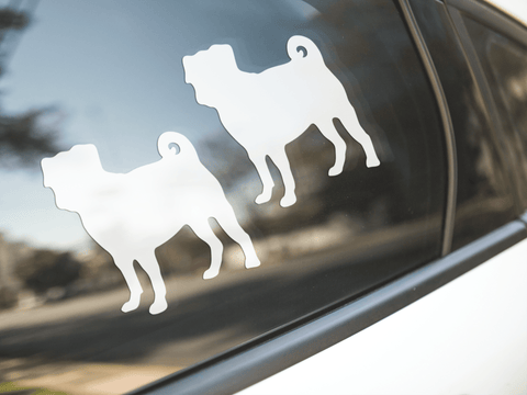 Pug Dog Silhouette Sticker