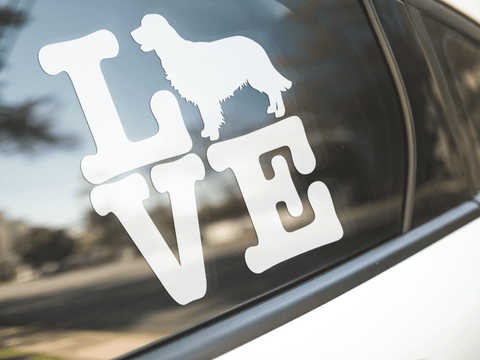 Love Golden Retriever Dog Sticker