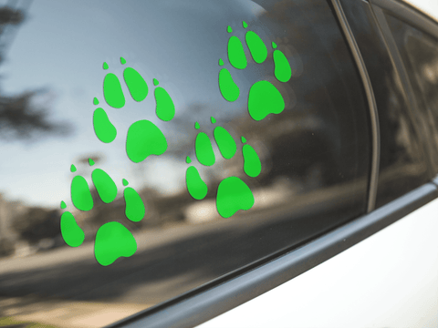 Dog Paw Print Green Stickers