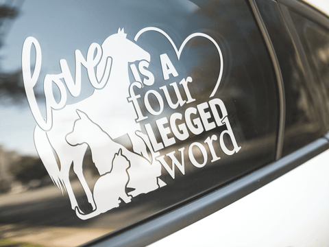 Love Is A Four Legged Word Sticker