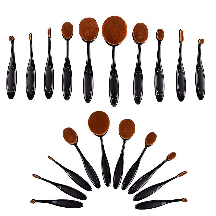 10-Piece : Oval Makeup Brush Set