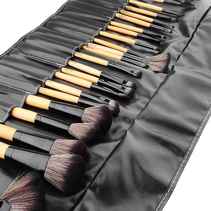 24-Piece : Professional Makeup Brush Kit with Roll-Up Carrying Case