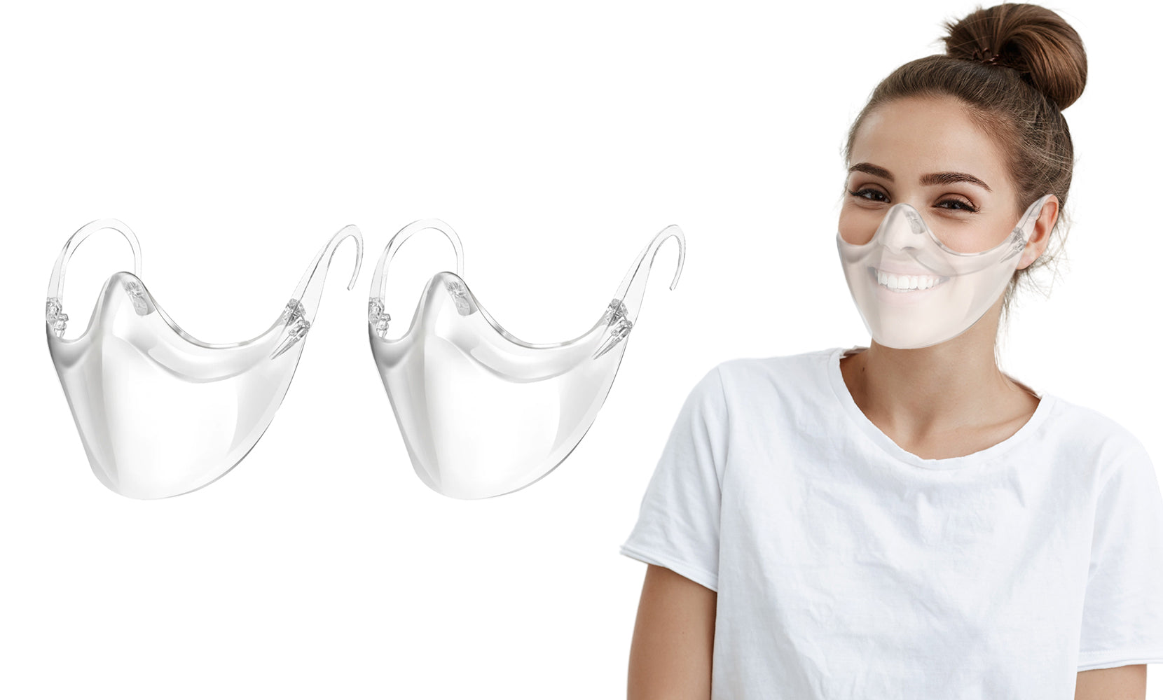 2-Pack: Transparent and Breathable Clear Face Shield Mask