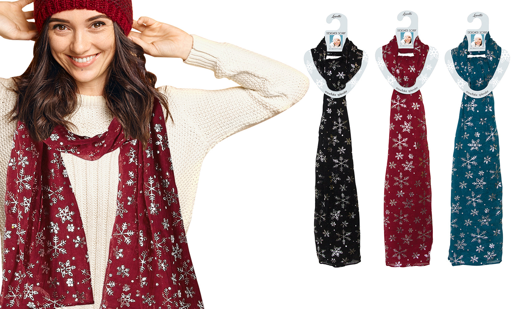 Snowflake Holiday Themed  Scarf Set (3-Pack)