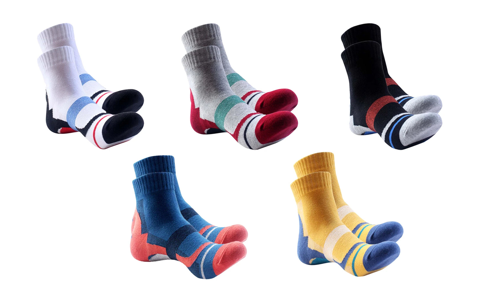 5-Pairs : Unisex Ankle-Length Performance Compression Socks