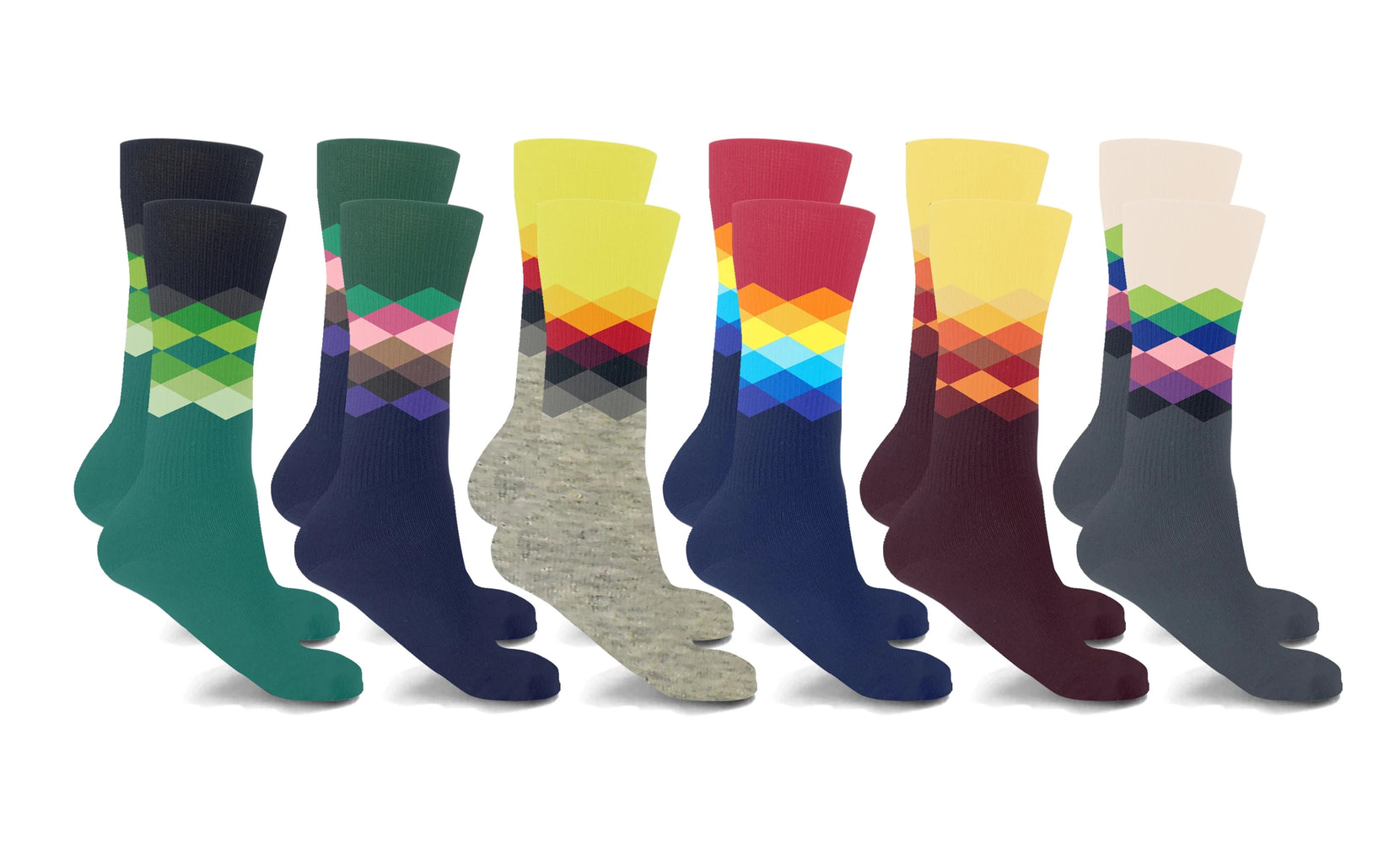 Argyle Crew length Compression Socks (6-Pairs)