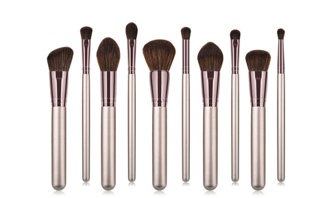Metallic Bronze Blushing Bright Makeup Brushes (10-Piece)