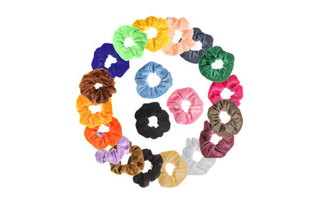 Premium Velvet Elastic Hair Scrunchies (20-Pack)