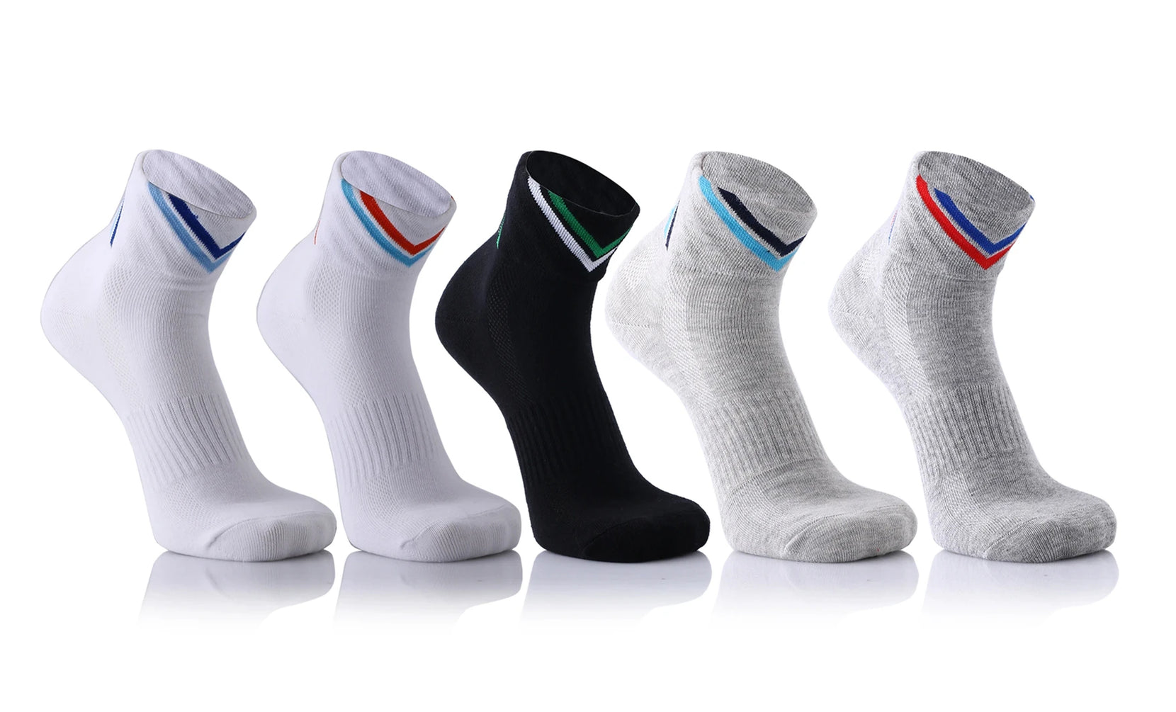 5-Pairs : Unisex Quick Dry Ankle Length Compression Socks