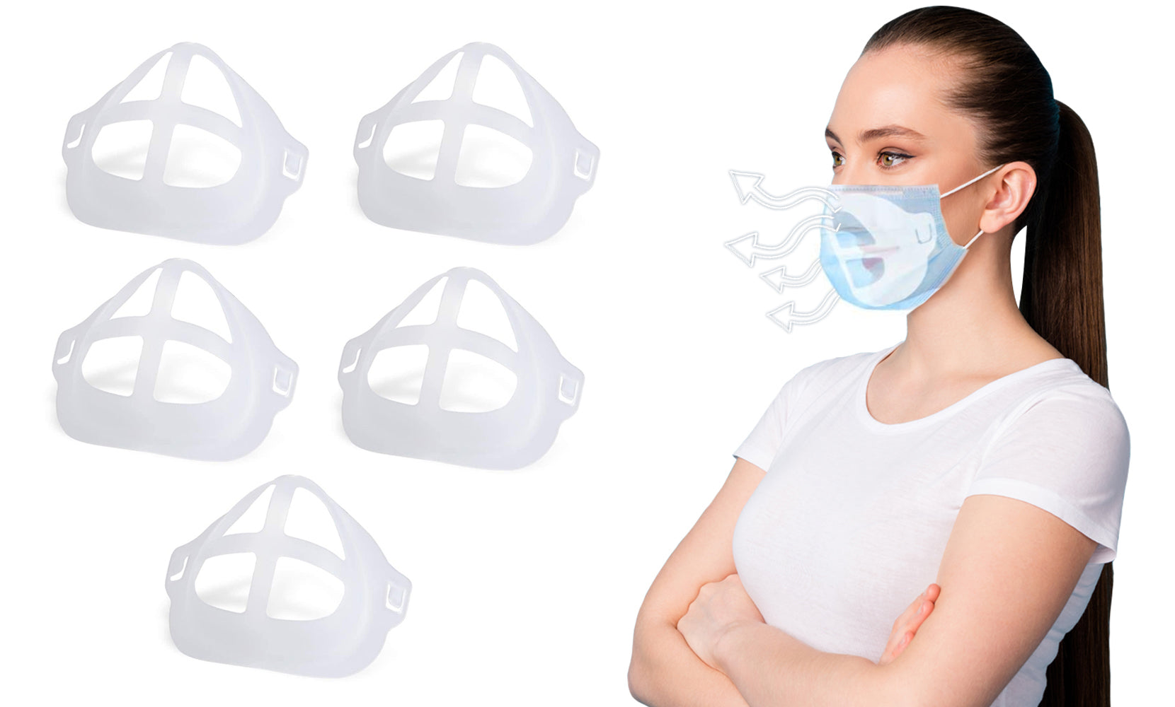 3D Internal Support Face Mask Bracket for Comfortable Breathing  (5-Pack)
