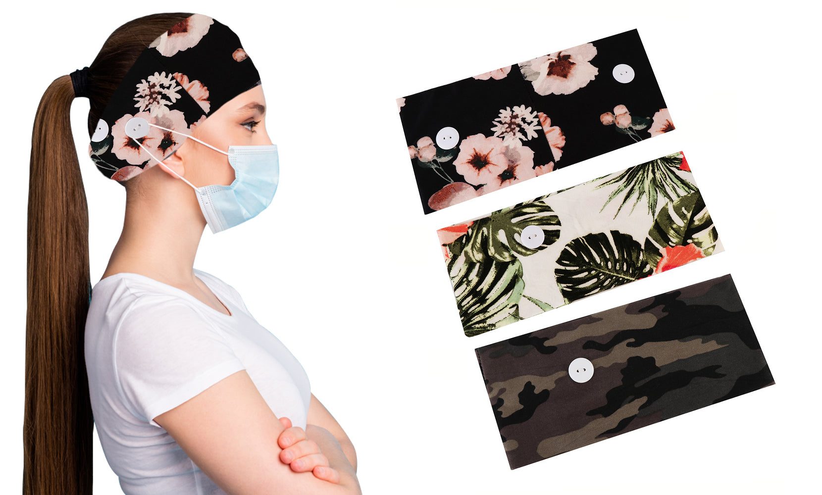 Women's Comfy Stretchy Headband with Buttons for Face Masks & Covers(3-Pack)