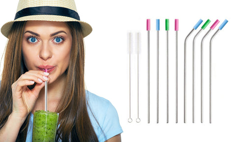 Stainless Steel Extra Wide Drinking Straws with Colored Silicone Tops (10 or 20-Pack)