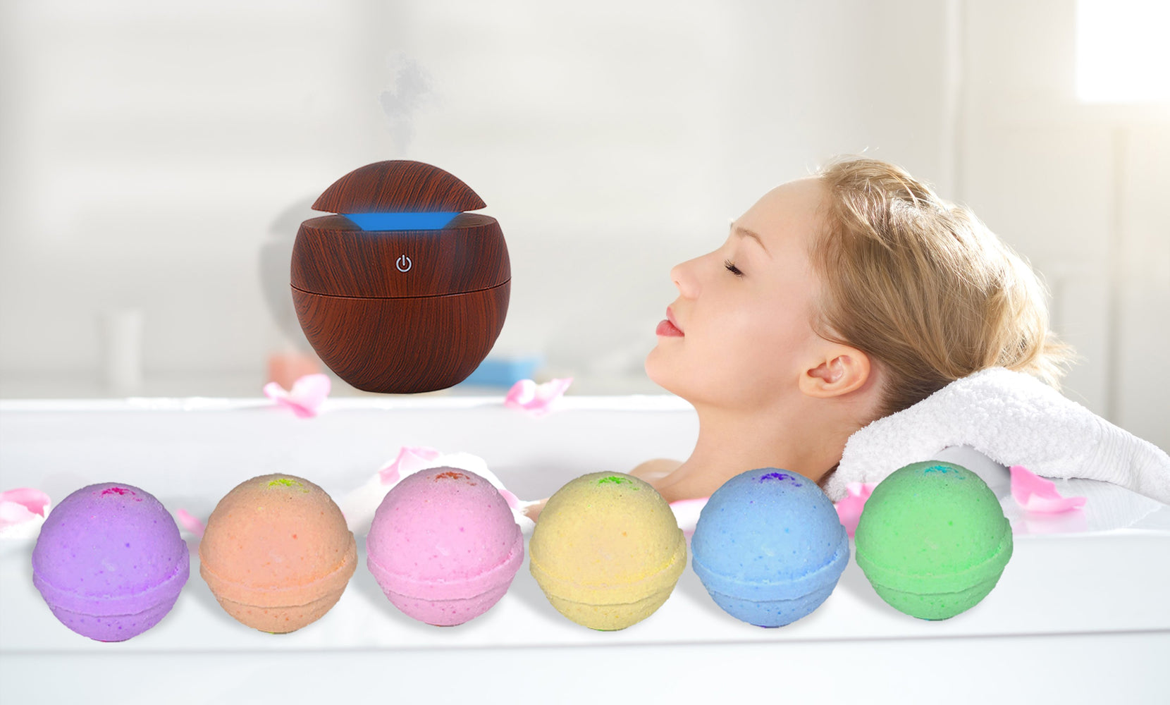 Aromatherapy Wood Grain Diffuser and Moisturizing Bath Bombs (7-Pack)