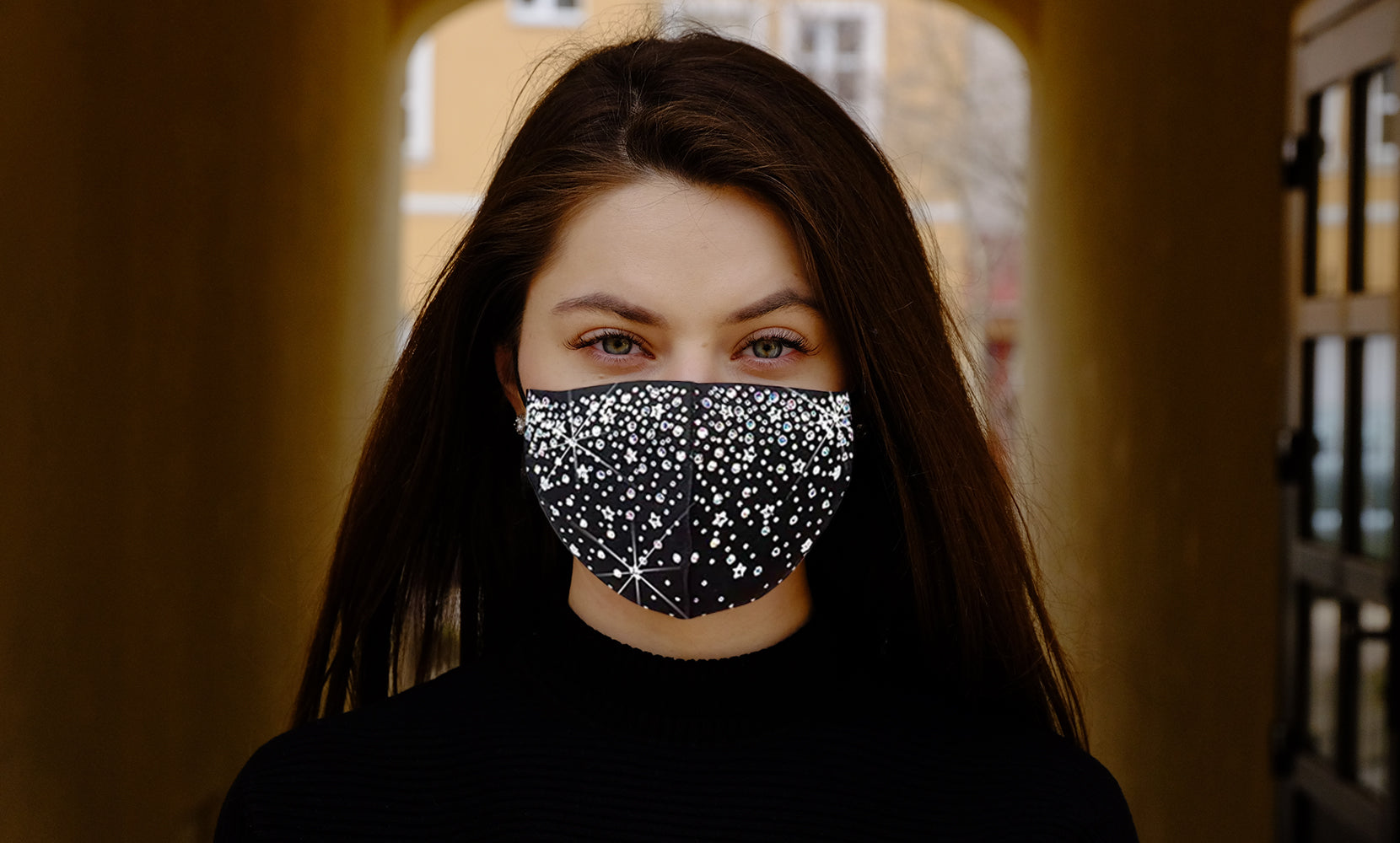 6 Pack: Celebrity  Holiday Bling Rhinestone Face Mask