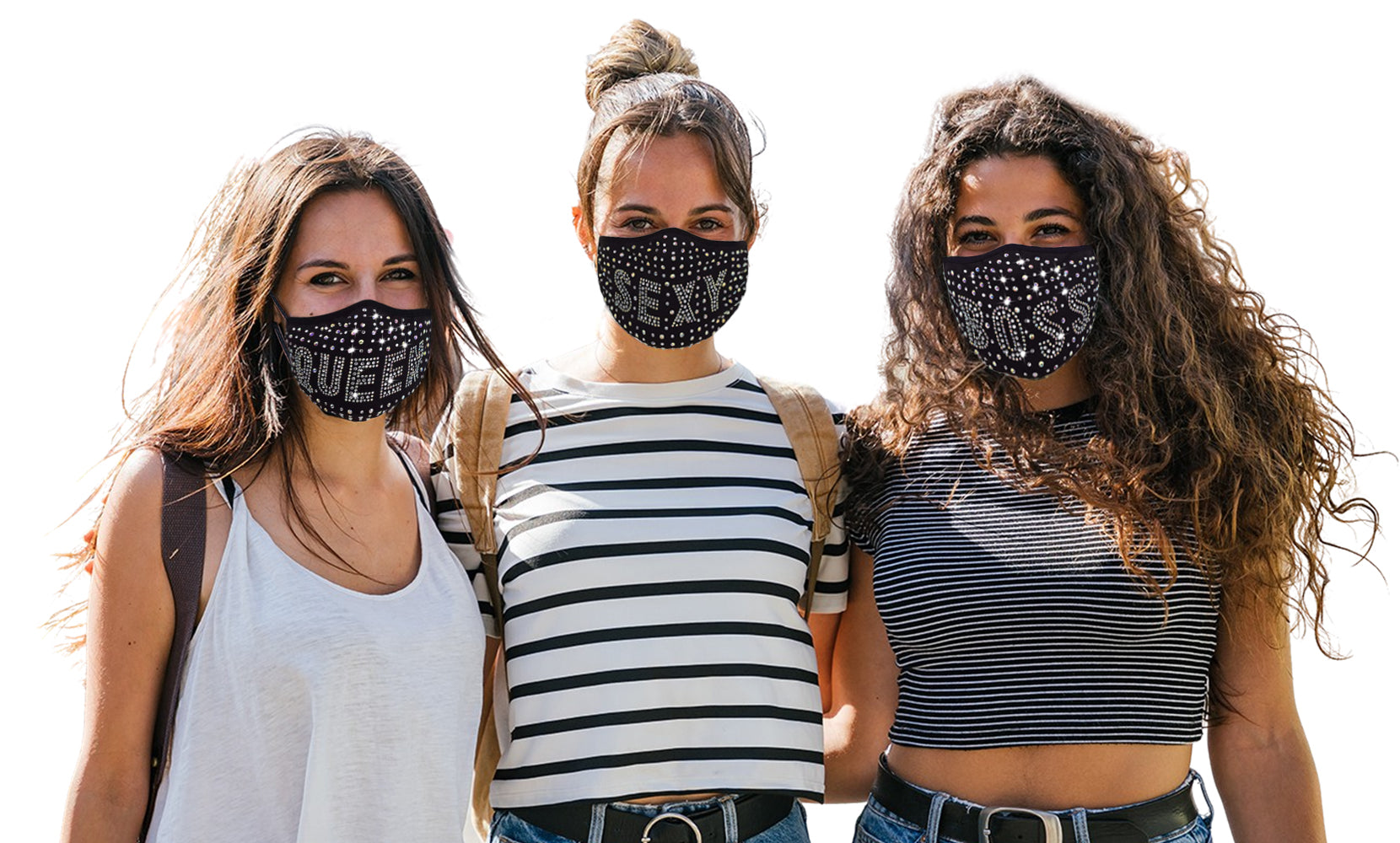 3-Pack: All the Blings Rhinestone Cotton Face Mask