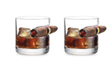Old Fashioned Whiskey Glass with indented Cigar Rest(1 or 2-Pack)