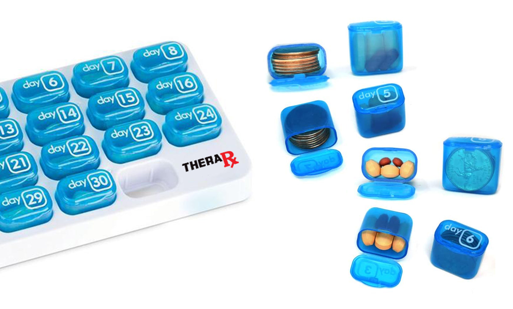 31 Day Monthly Pill and Vitamin Organizer with Large Removable Pods
