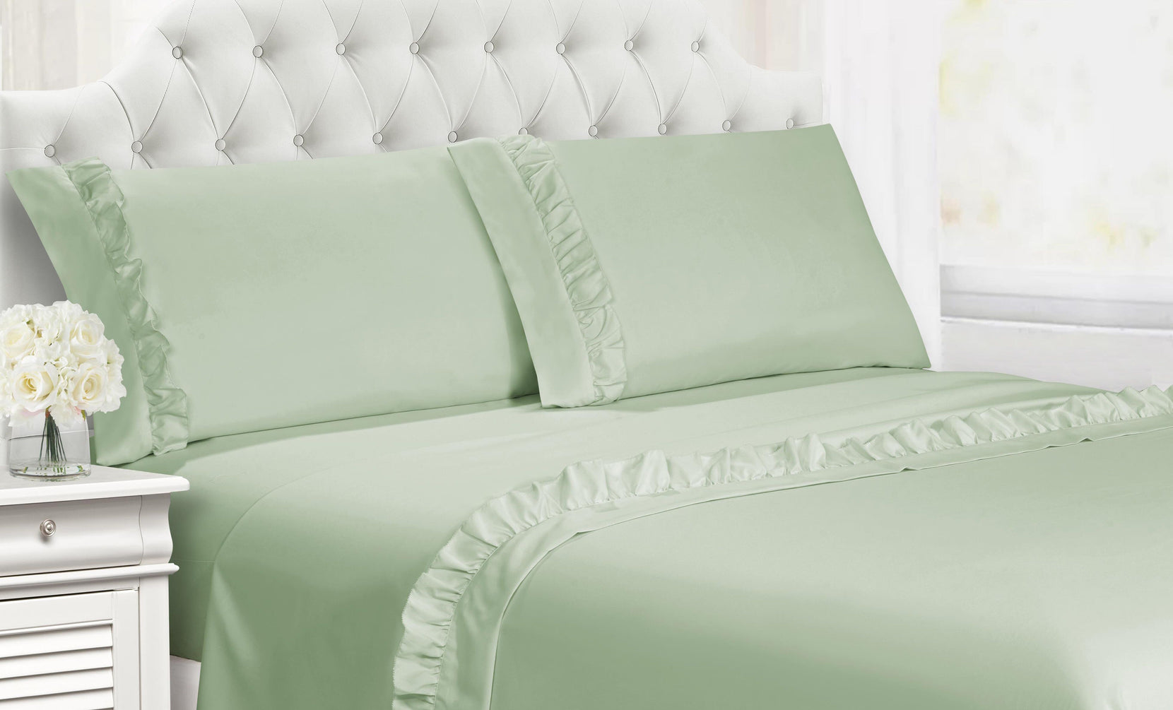 Deep Pocket Silky Ruffle Sheet Set (4-Piece)