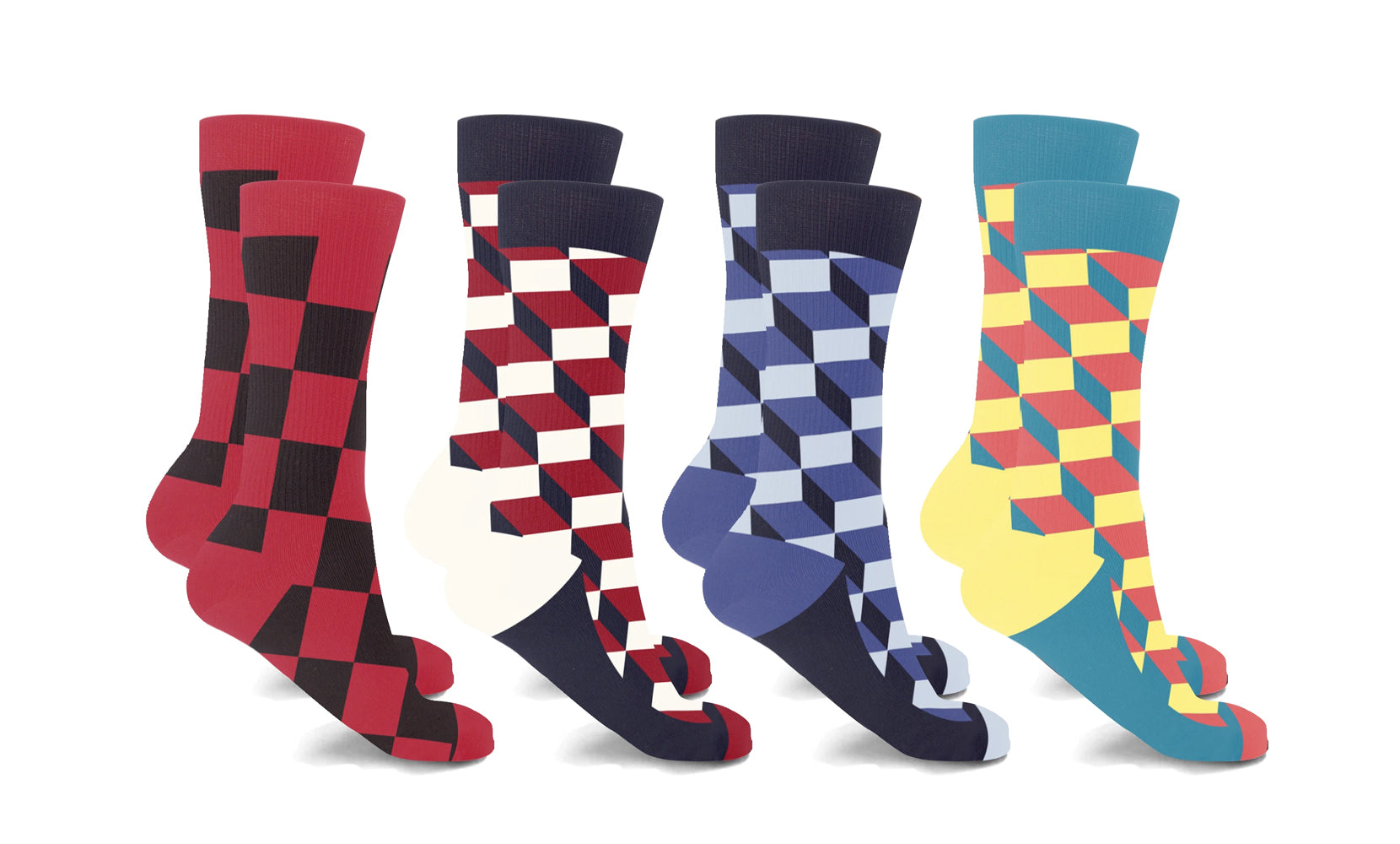 3D Block Crew length Compression Socks (4-Pairs)