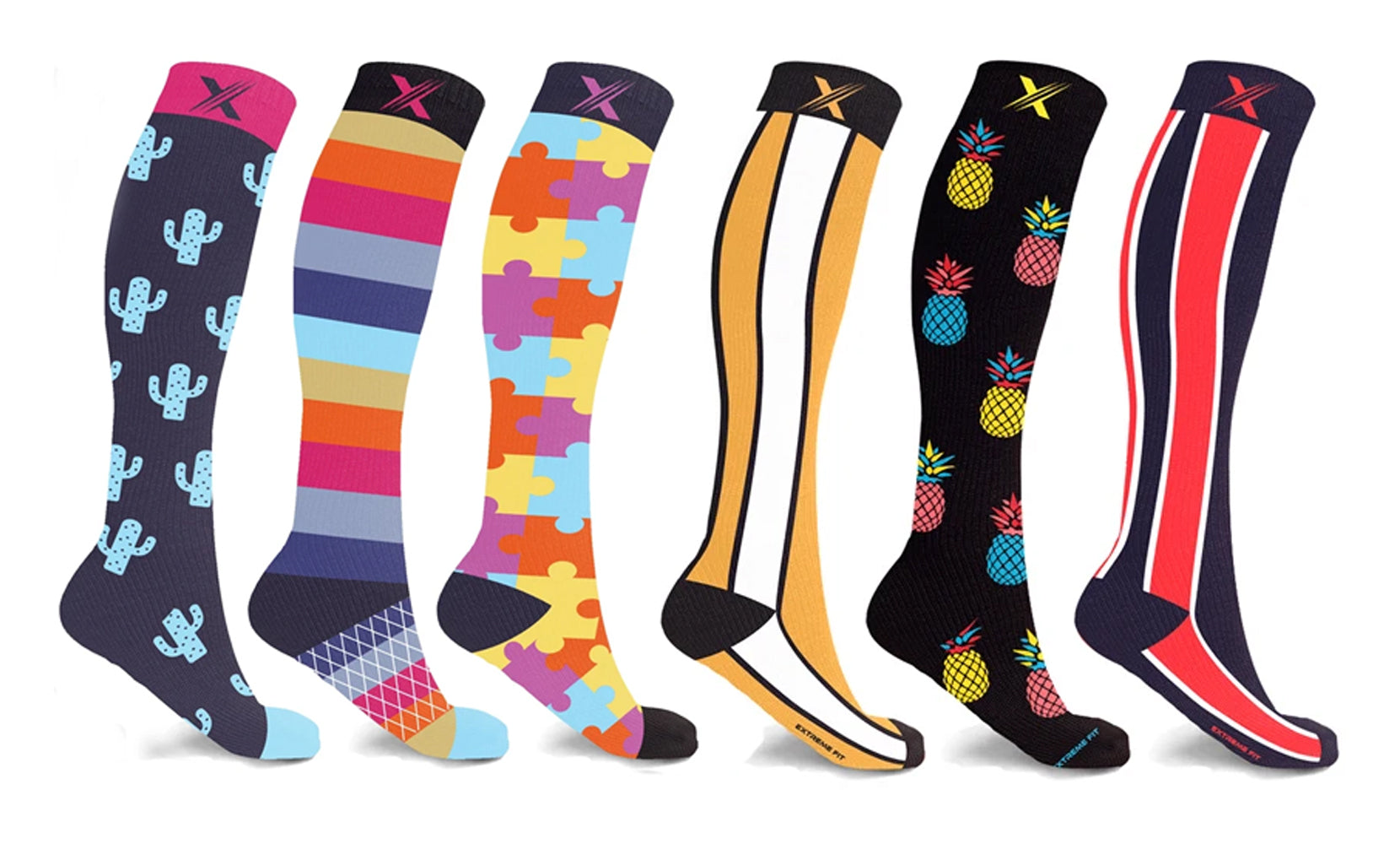 Unsiex Knee-High Compression Socks Collection (3-Pairs or 6-Pairs)
