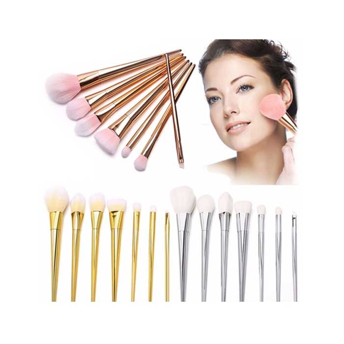 7-Piece : Professional Metallic Makeup Brush Set