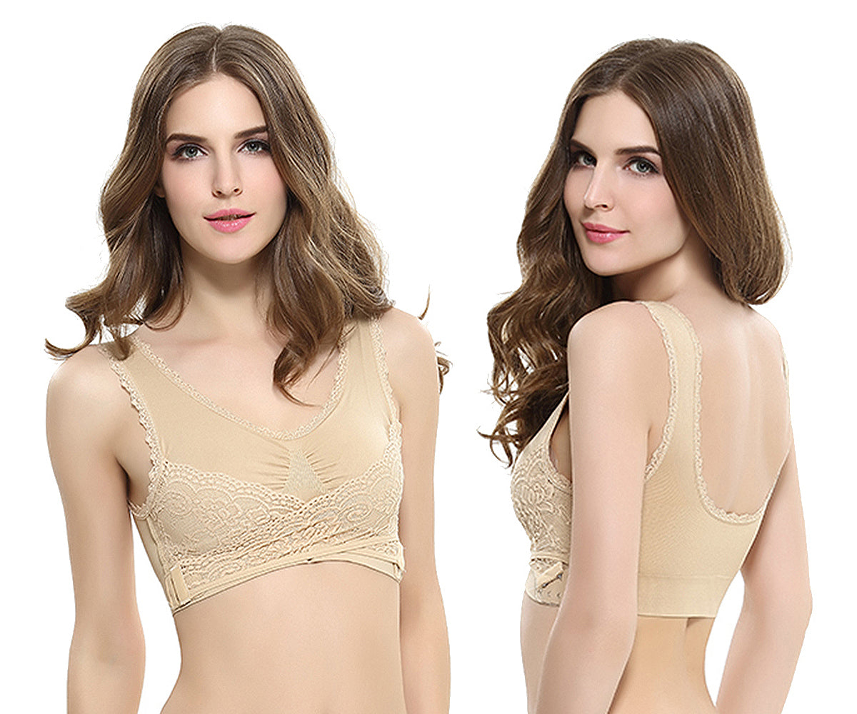 3-Pack: Floral Lace-Paneled Modesty Bras