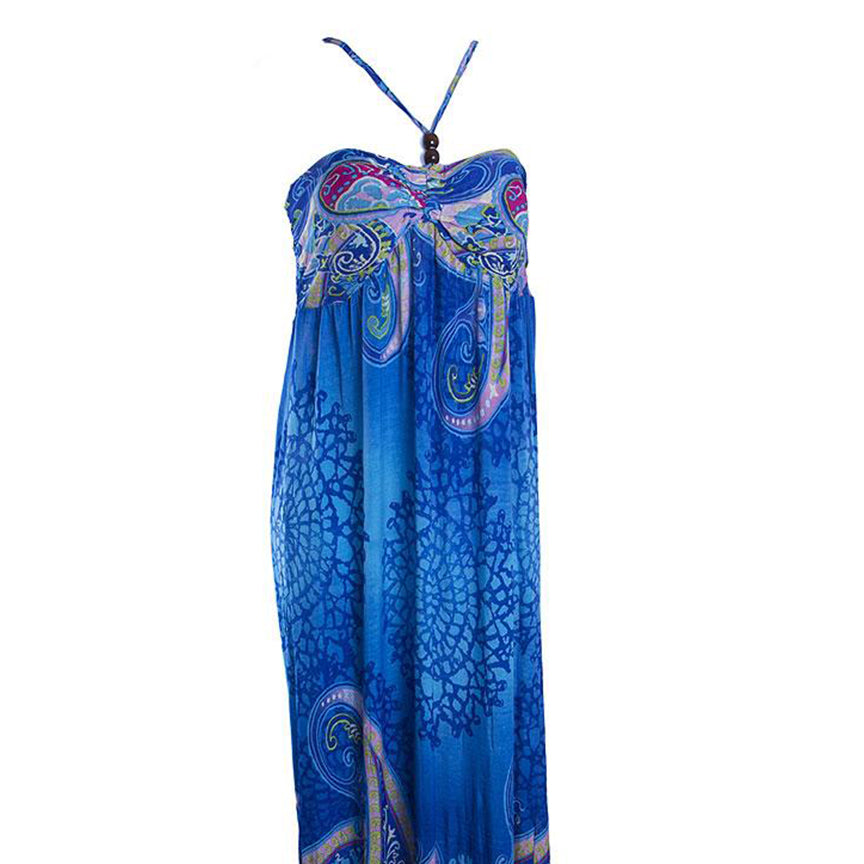 Bandeau Beaded Halter Maxi-Dress