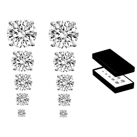 5-Pack: 9.00 CTW Stud Earrings with Swarovski Elements Crystals in Sterling Silver