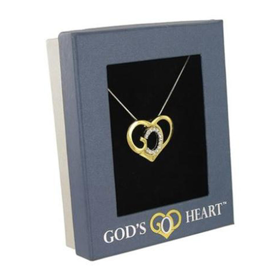 God's Heart Crystal Accent Gold Necklace