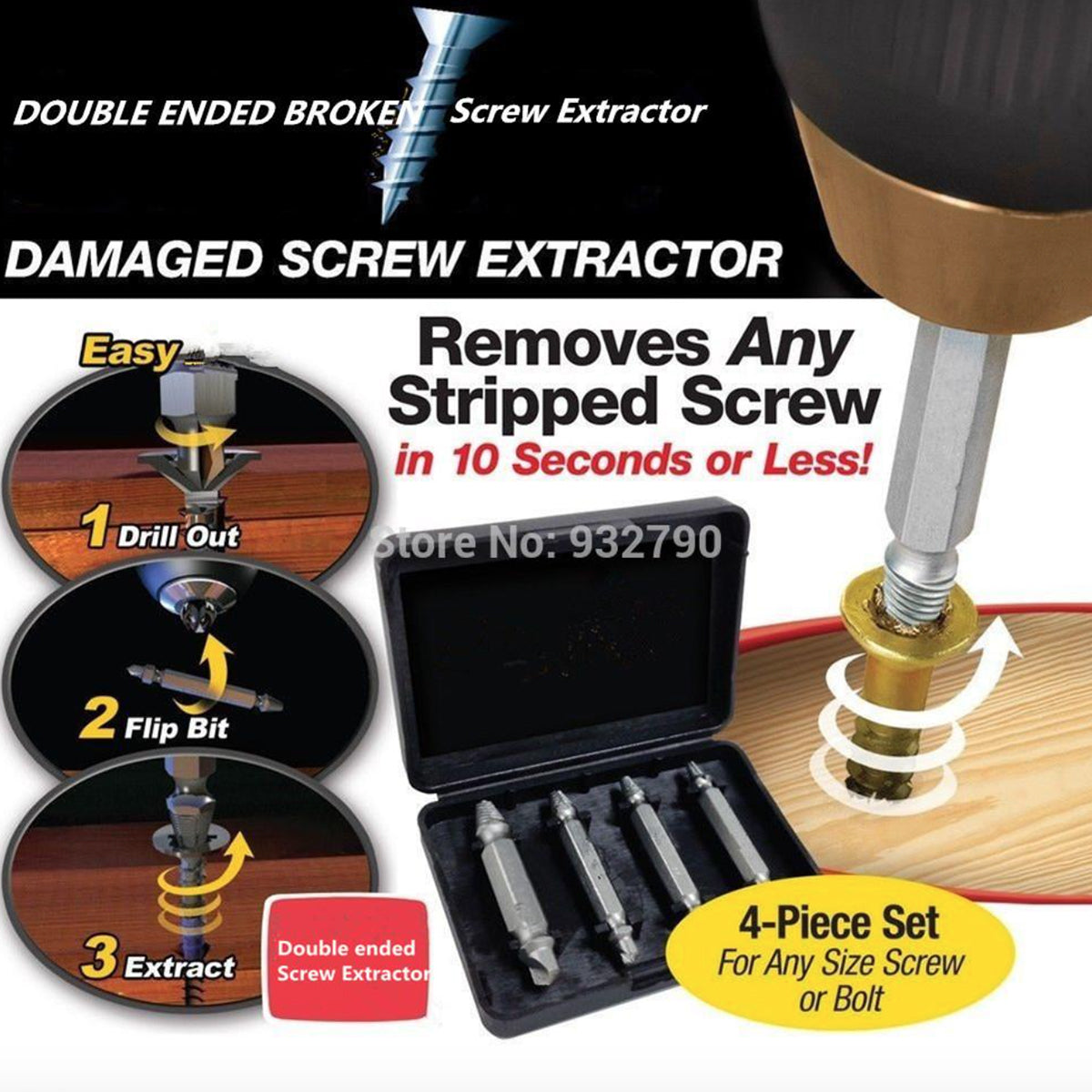 4-Piece Set: DrillPro Double-Sided Damaged Screw Extractors