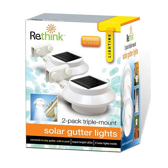 2-Pack Triple Mount Solar Gutter Lights
