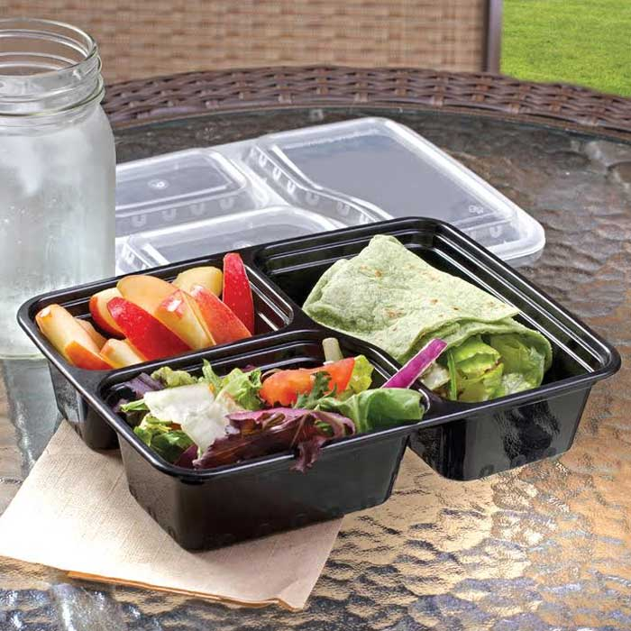 20-Piece Set: Three Compartment Lunch Containers