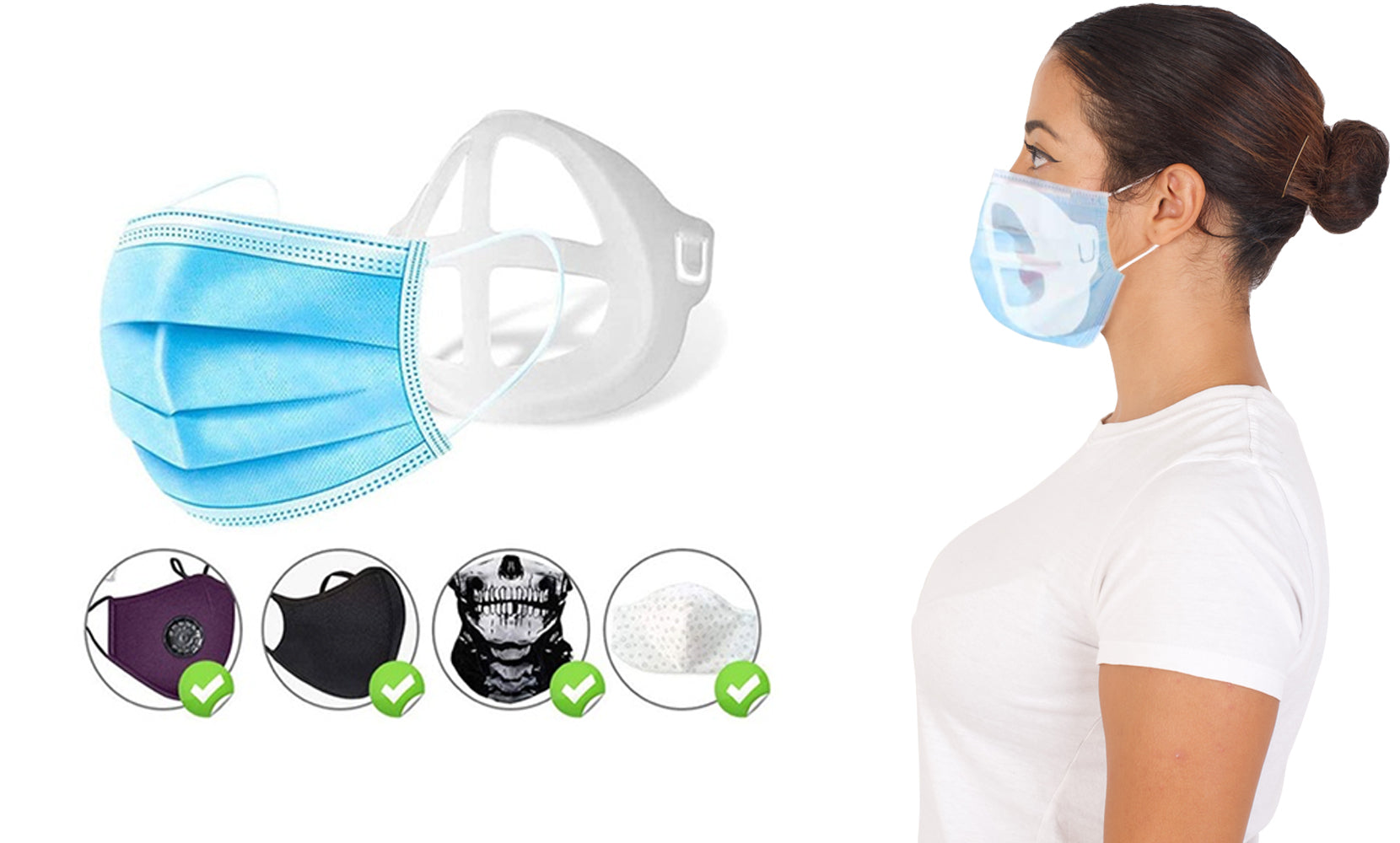 12-Pack :Colorful 3D Support Face Mask Bracket For Comfortable Breathing