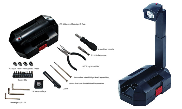 26-Piece Tool Set with Built-in Flashlight and Case