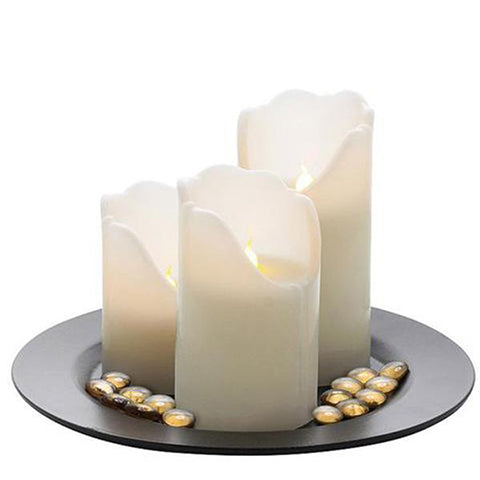 3-Piece Set: LED Flameless Wax Pillar Candles with Remote